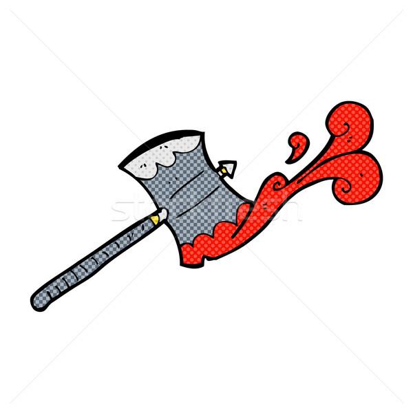 Cômico desenho animado dobrar machado retro Foto stock © lineartestpilot