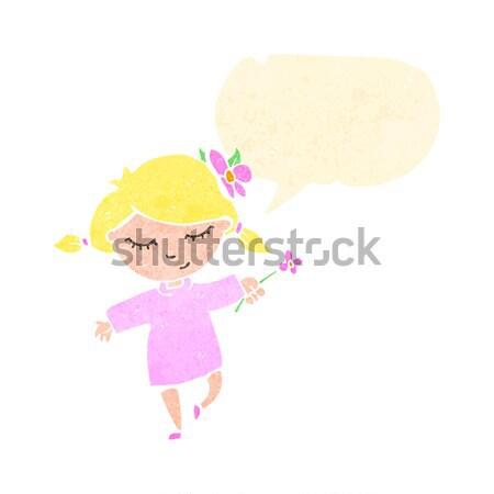 Karikatür yüksek sesle kadın düşünce balonu el dizayn Stok fotoğraf © lineartestpilot