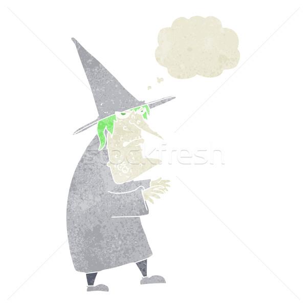 Cartoon lelijk oude heks gedachte bel hand Stockfoto © lineartestpilot