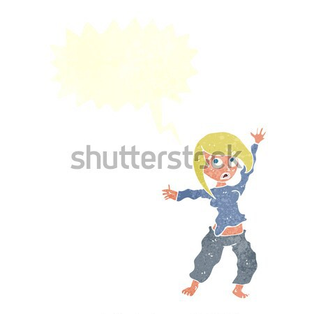 cartoon frightened woman with thought bubble Stock photo © lineartestpilot
