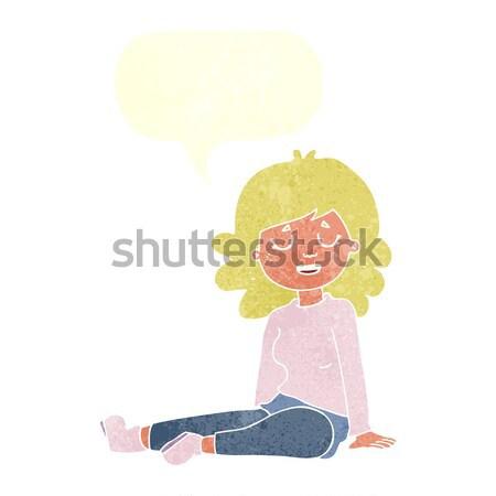 Karikatür mutlu kadın oturma zemin düşünce balonu Stok fotoğraf © lineartestpilot