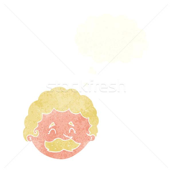 Cartoon человека усы мысли пузырь стороны лице Сток-фото © lineartestpilot