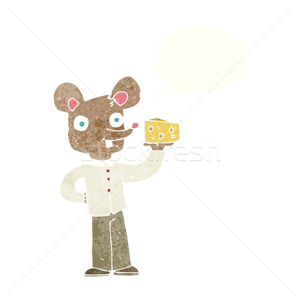 cartoon mouse holding cheese with thought bubble Stock photo © lineartestpilot