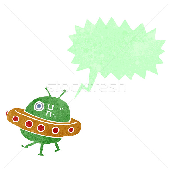 cartoon UFO with speech bubble Stock photo © lineartestpilot