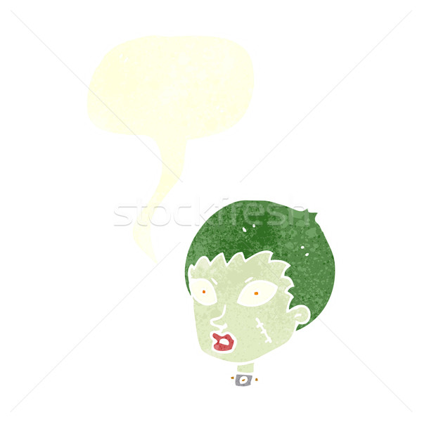 Cartoon женщины зомби голову речи пузырь стороны Сток-фото © lineartestpilot