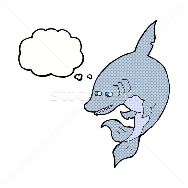 Amuzant desen animat rechin bule gandire mână proiect Imagine de stoc © lineartestpilot
