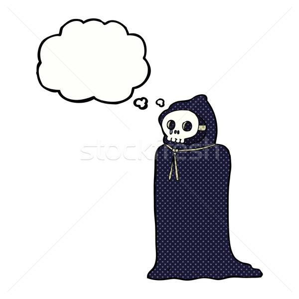 cartoon spooky halloween costume with thought bubble Stock photo © lineartestpilot