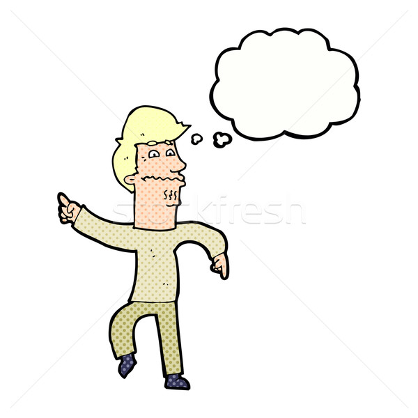cartoon worried man pointing with thought bubble Stock photo © lineartestpilot