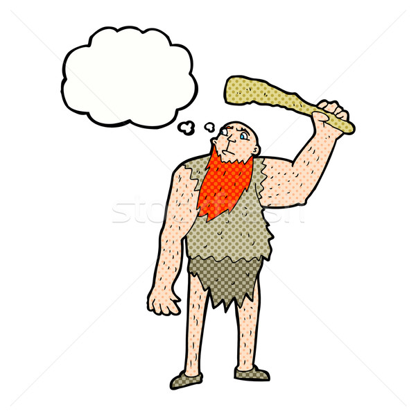 cartoon neanderthal with thought bubble Stock photo © lineartestpilot