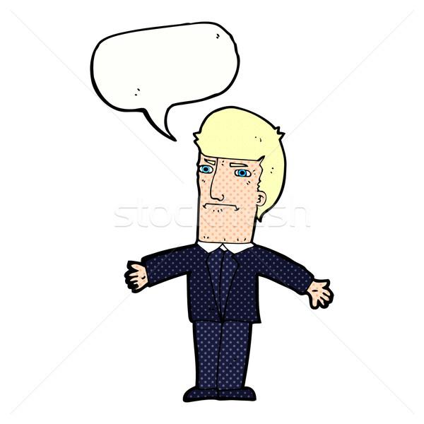 Desenho animado irritado patrão balão de fala mão projeto Foto stock © lineartestpilot