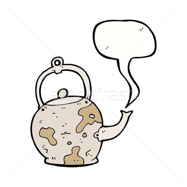 cartoon old tea pot with speech bubble Stock photo © lineartestpilot