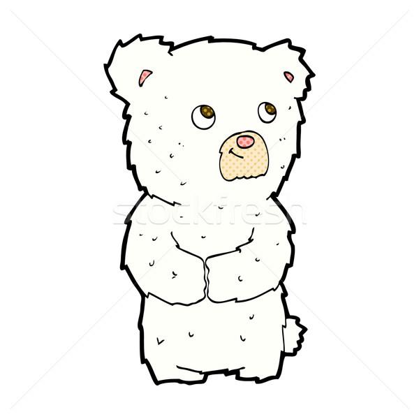 Komische cartoon ijsbeer welp retro Stockfoto © lineartestpilot