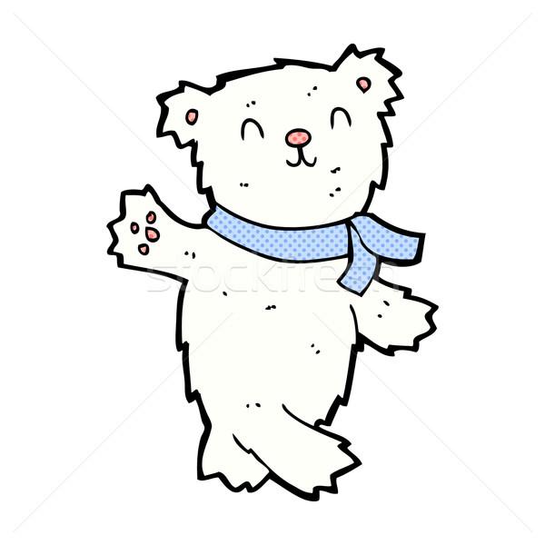 comic cartoon waving teddy polar bear Stock photo © lineartestpilot