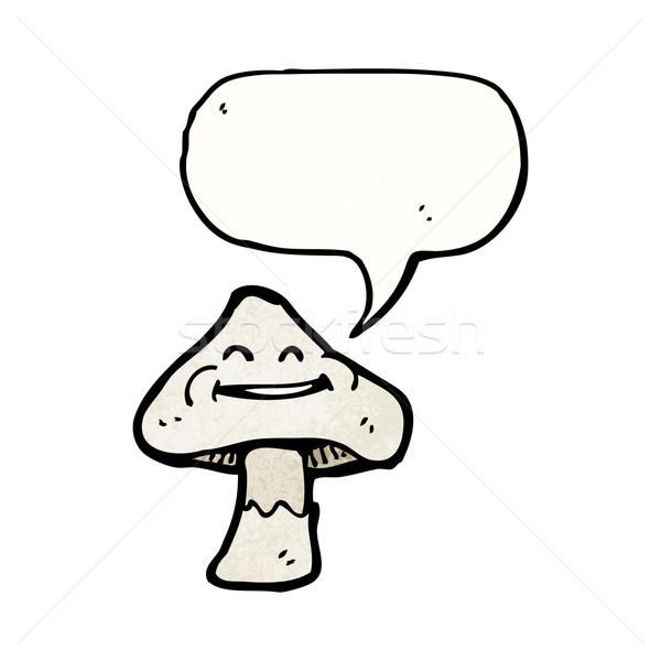 Desenho animado cogumelo venenoso balão de fala textura mão feliz Foto stock © lineartestpilot