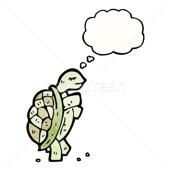 Karikatür Kaplumbağa Konuşma Retro Düşünme çizim Vektör