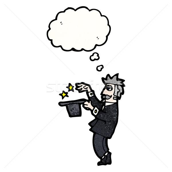 漫画 マジシャン 話し レトロな 思考 図面 ストックフォト © lineartestpilot
