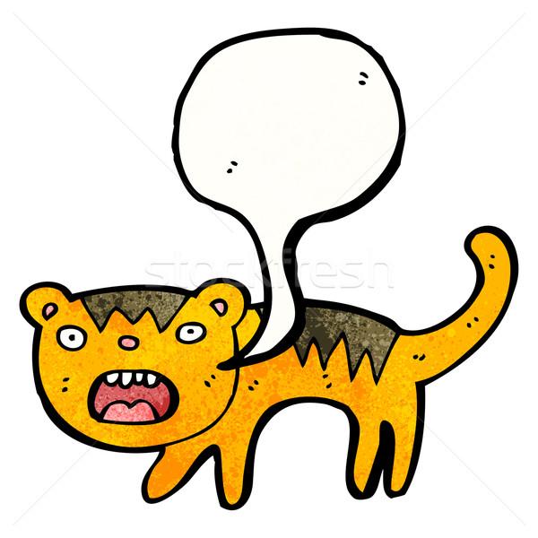 Cartoon Tygrys sztuki zwierząt retro rysunek Zdjęcia stock © lineartestpilot