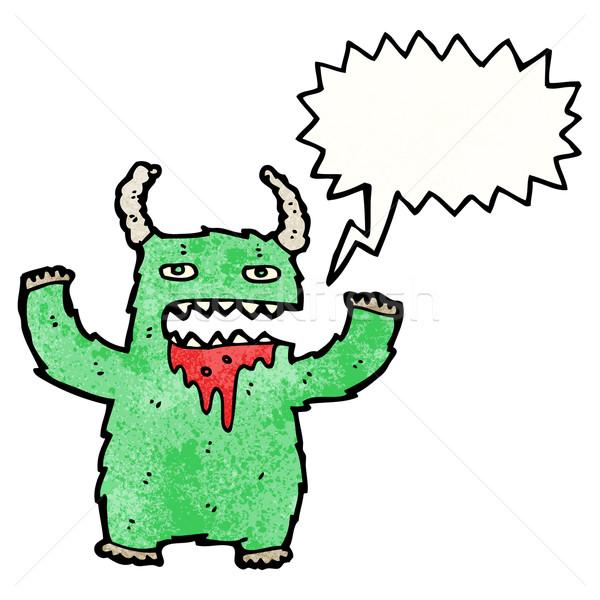 Schreien Monster Karikatur Kunst Retro Zeichnung Stock foto © lineartestpilot