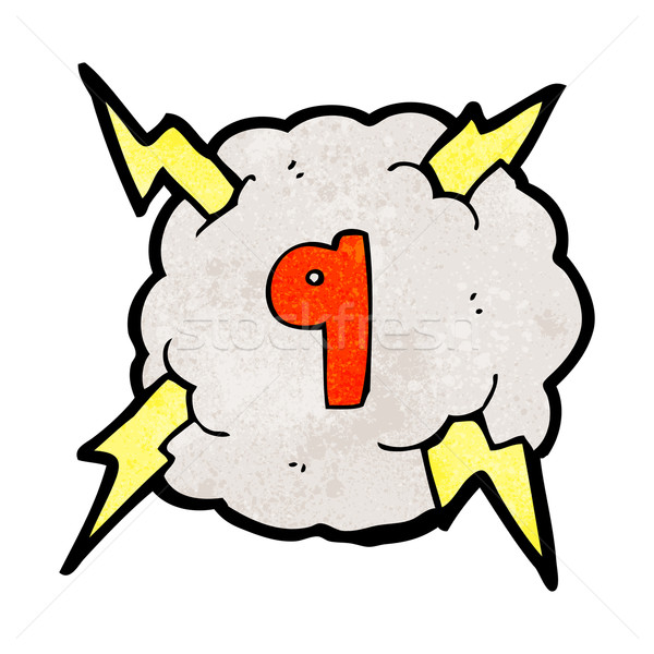 cartoon thunder cloud with number nine Stock photo © lineartestpilot