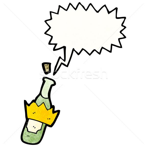 Foto stock: Desenho · animado · garrafa · cortiça · retro · desenho · bonitinho