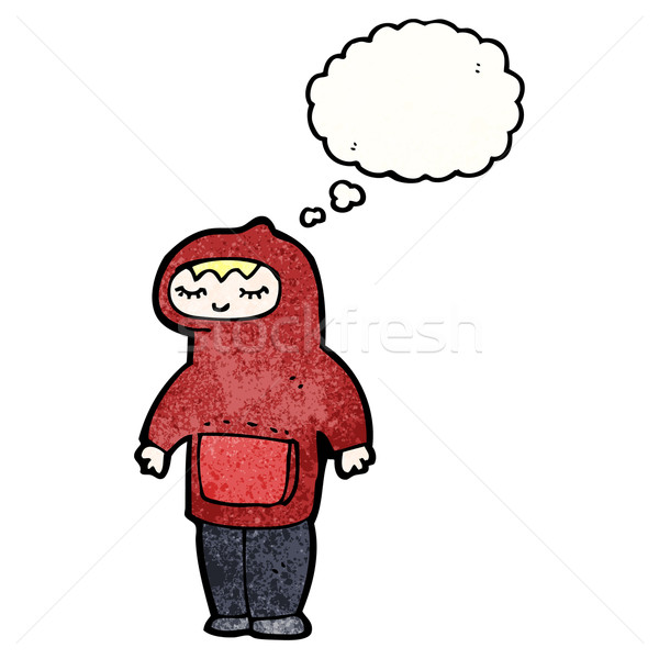 Rajz tinédzser kapucnis pulóver tini retro Stock fotó © lineartestpilot