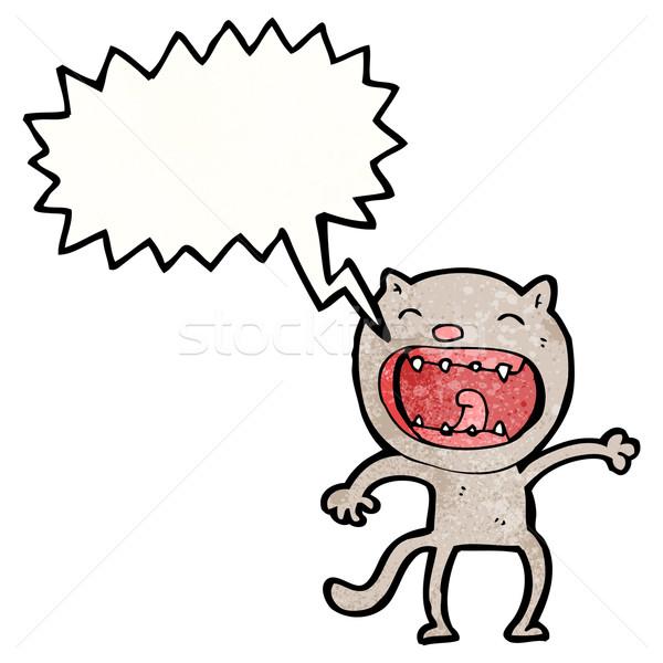 Rajz hangos macska művészet retro rajz Stock fotó © lineartestpilot