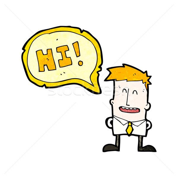 cartoon boy saying hi Stock photo © lineartestpilot