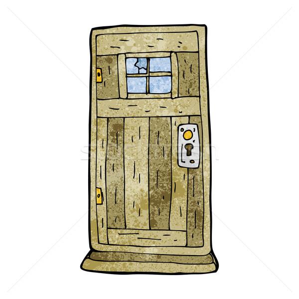 Rajz régi fa ajtó fa terv művészet Stock fotó © lineartestpilot