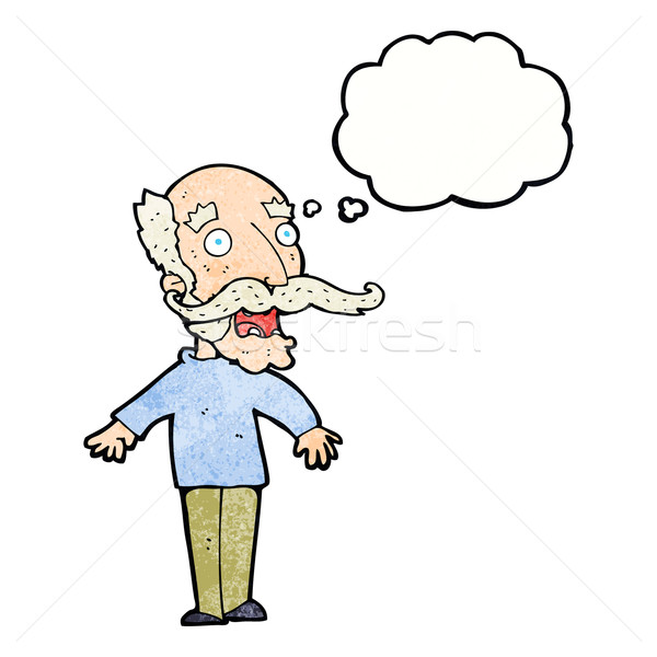 cartoon old man gasping in surprise with thought bubble Stock photo © lineartestpilot