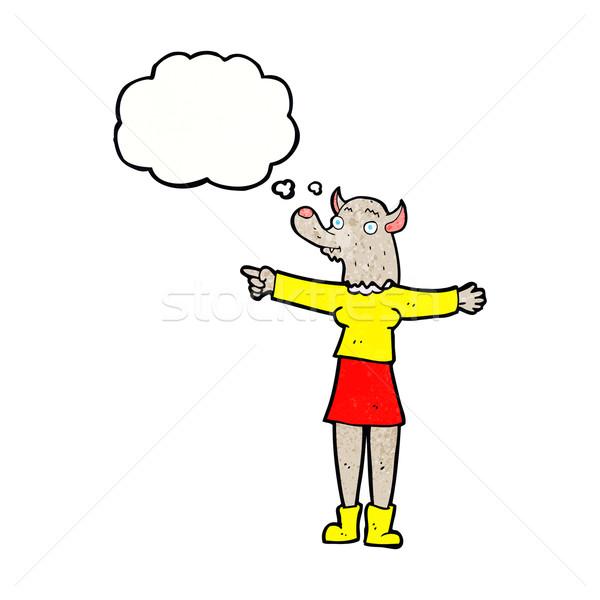 漫画 ポインティング 狼 女性 思考バブル 手 ストックフォト © lineartestpilot
