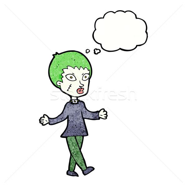 Cartoon halloween zombie kobieta bubble myśl strony Zdjęcia stock © lineartestpilot