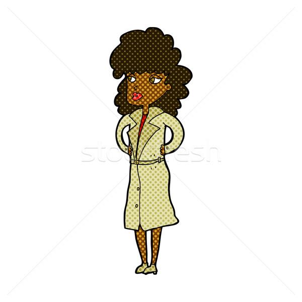 комического Cartoon женщину окоп пальто ретро Сток-фото © lineartestpilot
