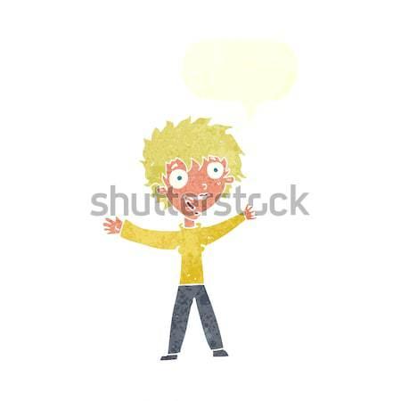 Cartoon podniecony kobieta bubble myśl strony szczęśliwy Zdjęcia stock © lineartestpilot
