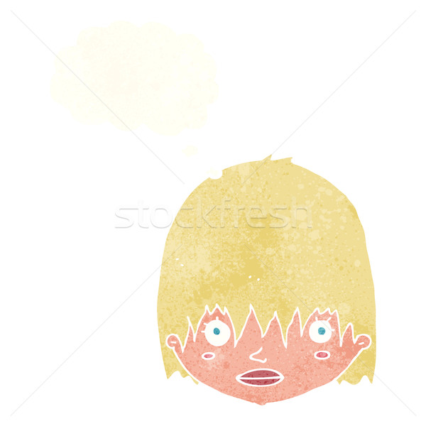 cartoon staring woman with thought bubble Stock photo © lineartestpilot