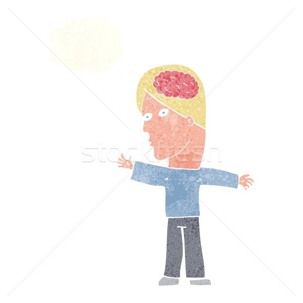 Cartoon człowiek mózgu bubble myśl strony projektu Zdjęcia stock © lineartestpilot