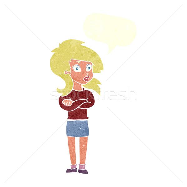 漫画 女性 折られた 腕 吹き出し 手 ストックフォト © lineartestpilot