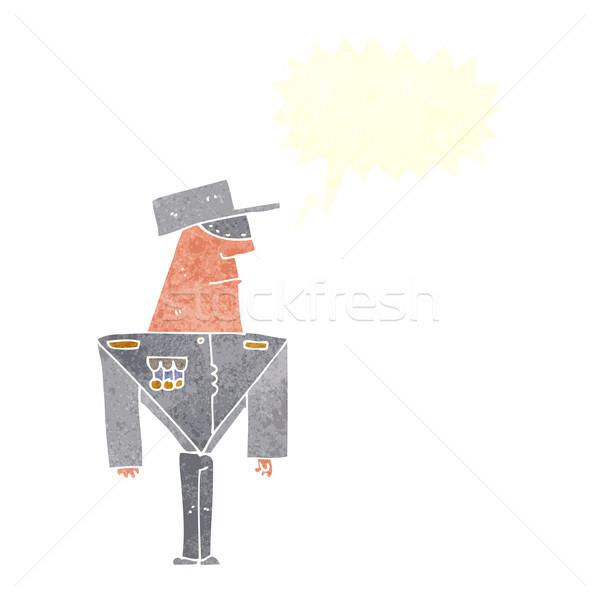 Desenho animado guarda balão de fala mão projeto arte Foto stock © lineartestpilot