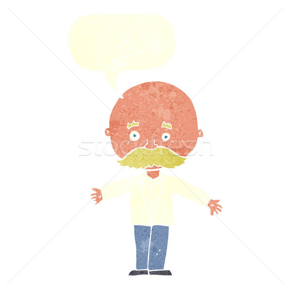 cartoon bald man with open arms with speech bubble Stock photo © lineartestpilot