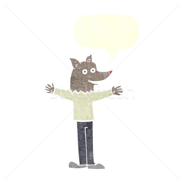 Karikatür kurt adam konuşma balonu el dizayn kafa Stok fotoğraf © lineartestpilot