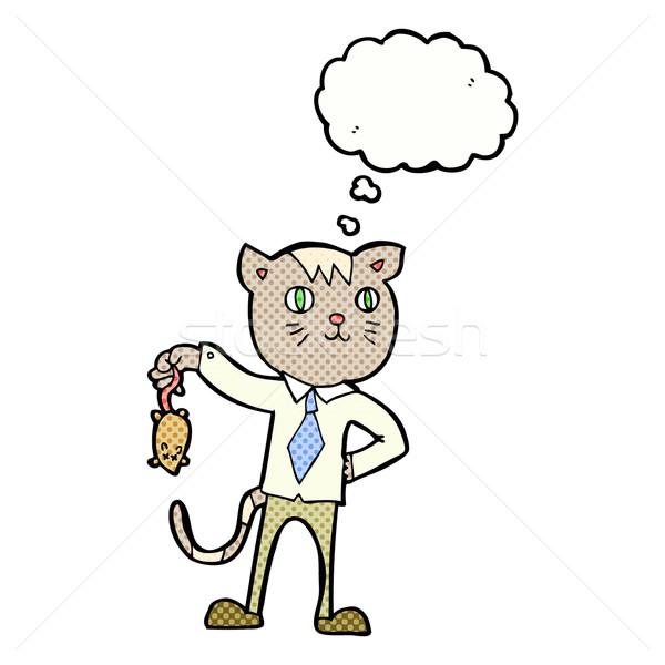 Desenho animado negócio gato morto mouse balão de pensamento Foto stock © lineartestpilot