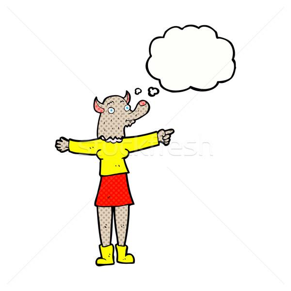 Karikatür işaret kurt adam kadın düşünce balonu el Stok fotoğraf © lineartestpilot