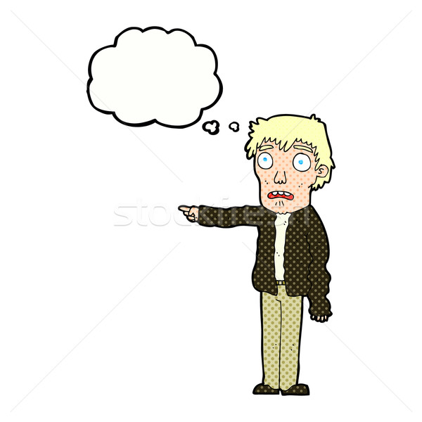 Cartoon przerażony człowiek wskazując bubble myśl strony Zdjęcia stock © lineartestpilot