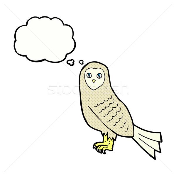 Karikatür baykuş düşünce balonu el dizayn kuş Stok fotoğraf © lineartestpilot