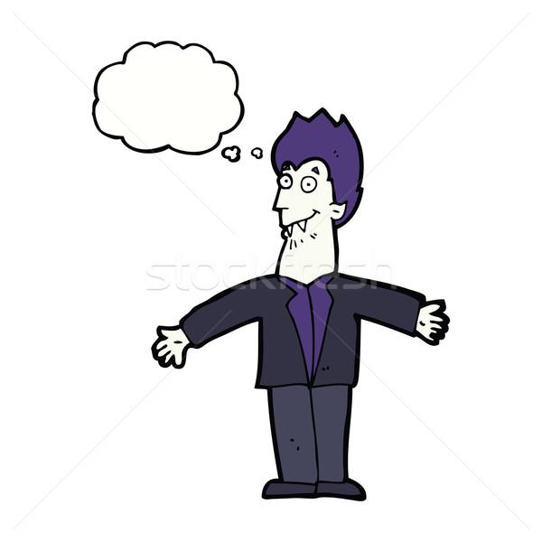 Cartoon vampiro uomo bolla di pensiero mano design Foto d'archivio © lineartestpilot