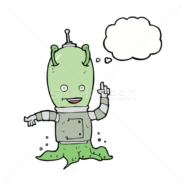 cartoon alien spaceman with thought bubble Stock photo © lineartestpilot