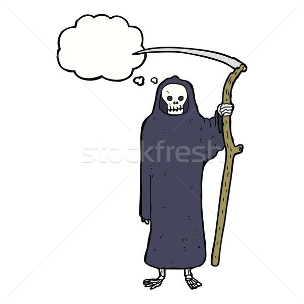 смерти Cartoon мысли пузырь стороны дизайна Crazy Сток-фото © lineartestpilot