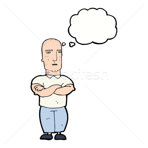 Cartoon лысые человека мысли пузырь стороны Сток-фото © lineartestpilot