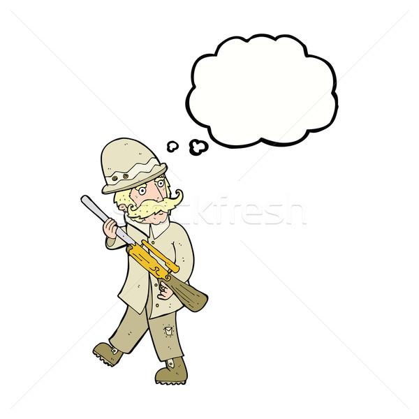 Cartoon большой игры охотник мысли пузырь стороны Сток-фото © lineartestpilot