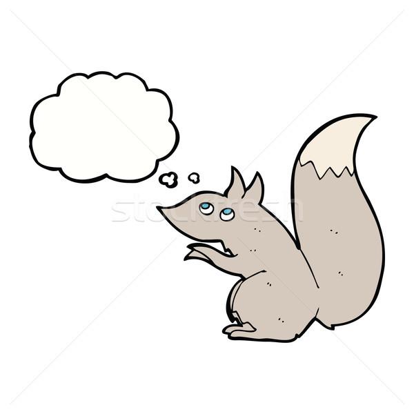 Cartoon белку мысли пузырь стороны дизайна Crazy Сток-фото © lineartestpilot