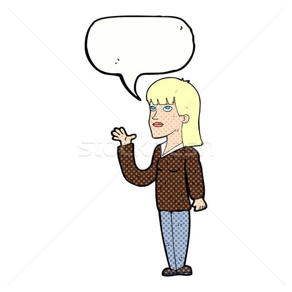 cartoon woman explaining with speech bubble Stock photo © lineartestpilot